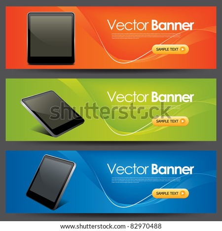 vector website headers, tablet pc promotion banners - stock vector