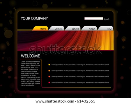 Vector - Website Layout Template in Red and Yellow Colors - stock vector