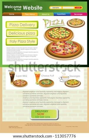 Vector website pizza. Vector Template of Website or flyer. Restaurant menu. - stock vector
