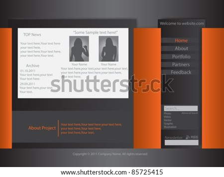 Vector Website Template - stock vector