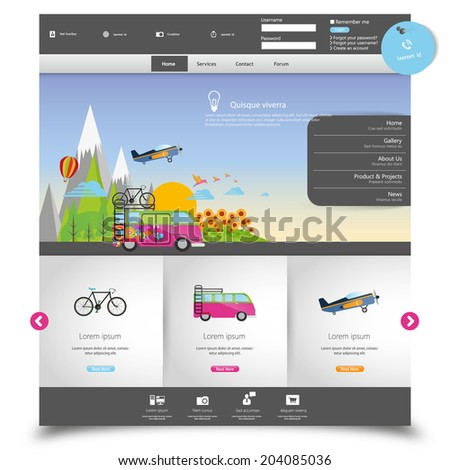 Vector website template for Tourism  - stock vector