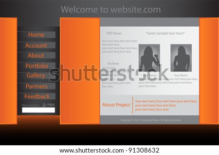 Vector Website Template Set - stock vector