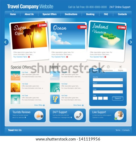 Vector website template 8: Tourism - stock vector