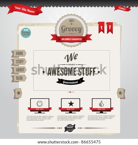 Vector Website Template with retro-vintage inspired design - stock vector