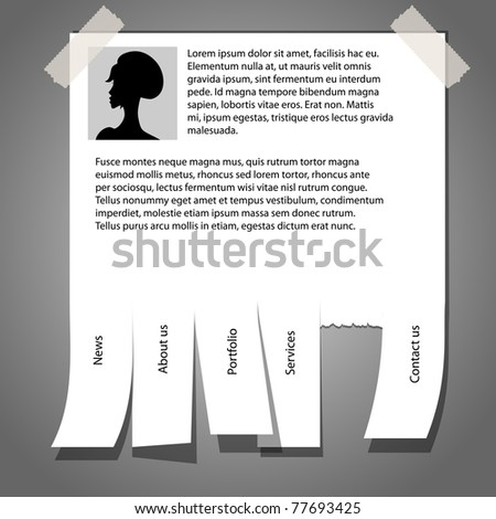 Vector website template with white blank - stock vector