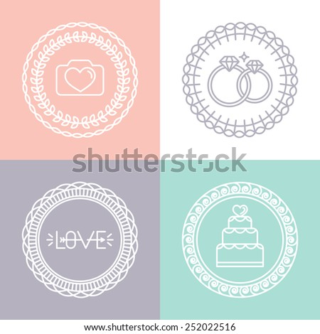 Vector wedding and engagement line logos and icons - linear design elements for invitations and greeting cards - circle badges  - stock vector
