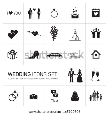 vector wedding and valentine romantic icon and pictogram set | flat design infographic square template black on white background - stock vector