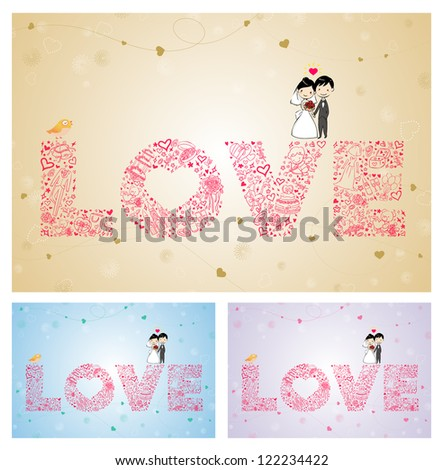 vector wedding card with lovely Bride and groom - stock vector