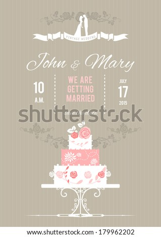 Vector wedding card with wedding cake. Holiday background  - stock vector
