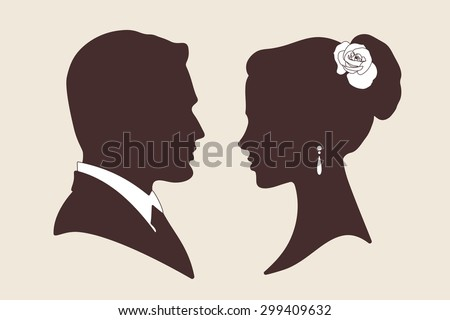 Vector wedding design silhouettes of groom and bride  - stock vector