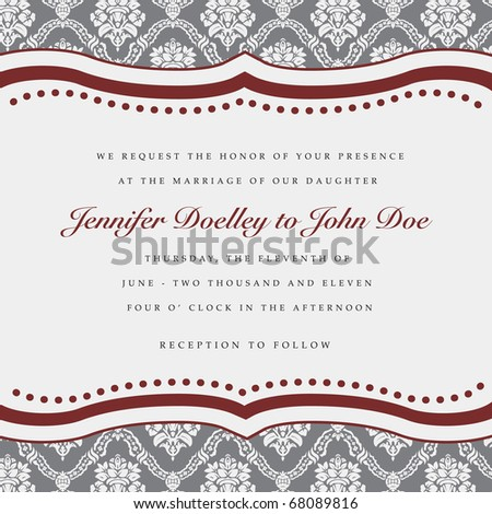 Vector wedding frame. Easy to edit. Perfect for invitations or announcements. - stock vector
