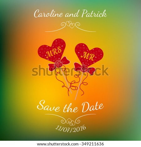 Vector wedding hearts MR and MRS on a stick over abstract colorful blurred vector background. Element for wedding designs, website, logo, and other. Greeting card template, Save the Date. - stock vector