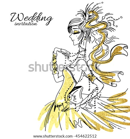 Vector wedding invitation background template, hand drawn beautiful bride in gorgeous dress. - stock vector