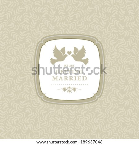 Vector wedding invitation card with abstract floral background. - stock vector