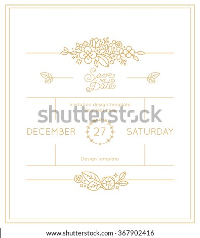 Vector wedding invitation design template with hand-lettering phrase save the date, floral decoration and copy space for text - design elements in trendy simple linear style - stock vector