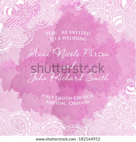 Vector wedding invitation with floral elements on watercolor pink background
