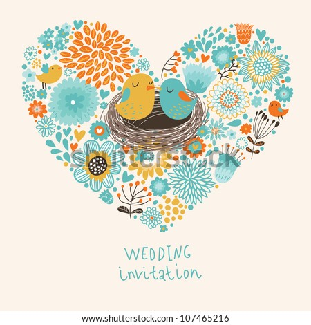 Vector wedding invitation with heart, flowers and birds - stock vector