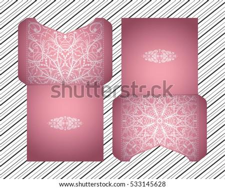vector wedding invitation with laser cut pattern laser cut envelope design mandala