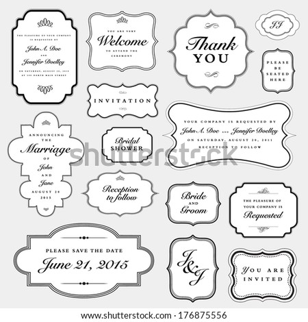 Vector Wedding Invite Frame Set. Easy to edit, all pieces are separated. - stock vector