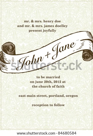 Vector Wedding Scroll and Pattern in Frame. Easy to edit. Perfect for invitations or announcements. - stock vector