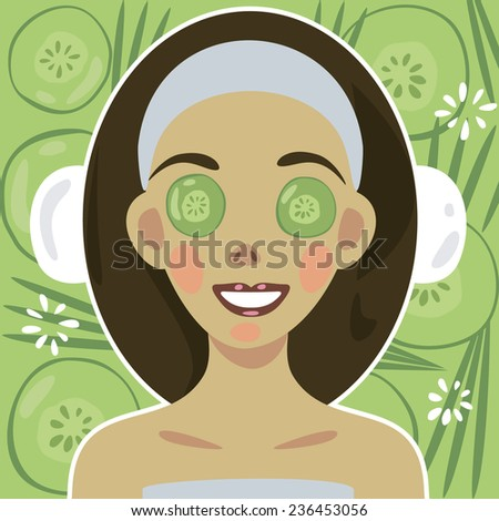 Vector.  Well-being. Happy woman in SPA. Sliming female puts on a facial mask. Girl in a beauty salon. - stock vector