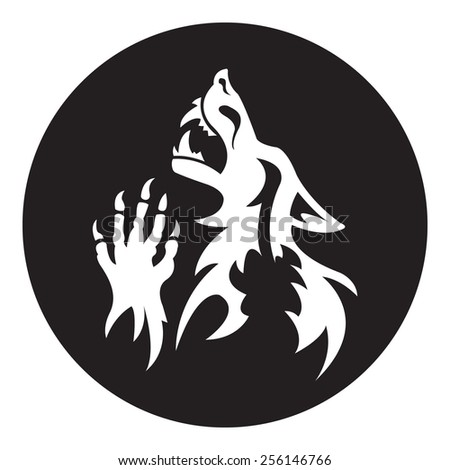 Vector werewolf stencil. White-black color.  Fantesy graphic eps 10. - stock vector