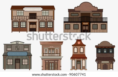 Vector western buildings, Western style. - stock vector