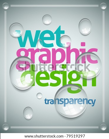 Vector wet poster template. Transparent water drops, text and background are separated layers. Easy editable. - stock vector