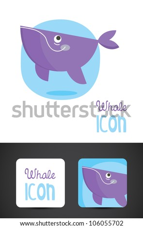 Vector whale icon such logo with business card template. - stock vector