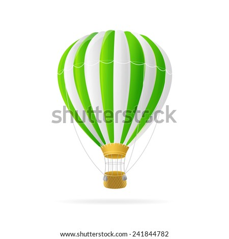 Vector white and green hot air ballon isolated on white background - stock vector