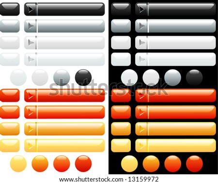 vector white and orange buttons for internet - stock vector