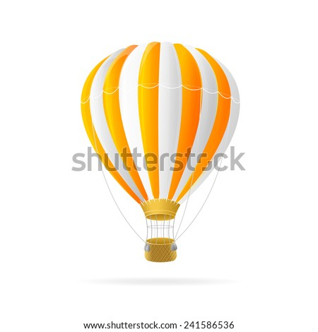 Vector white and orange hot air ballon isolated - stock vector