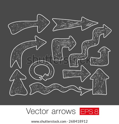 Vector white arrow set on a grey background. Vector illustration - stock vector
