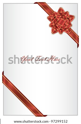 Vector white background with red bow - stock vector