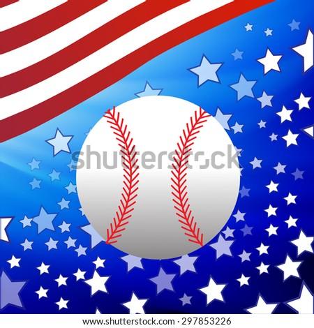 Vector White Baseball Ball on Starry American Flag Background - stock vector