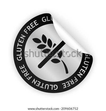vector white bent sticker with symbol of gluten free - stock vector
