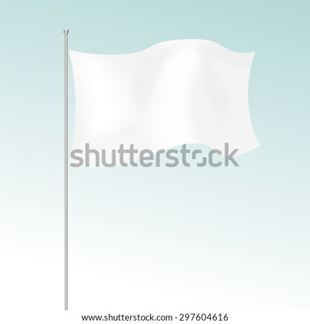 Vector White Blank Flag Isolated on  Background - stock vector
