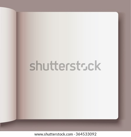 Vector white blank magazine spread. Template for your design. Open spread of book with blank white pages. - stock vector