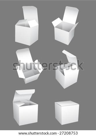 vector white boxes template - stock vector