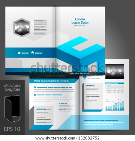 Vector white brochure template design with blue elements. EPS 10 - stock vector