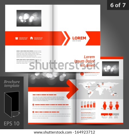 Vector white brochure template design with red arrows. EPS 10 - stock vector
