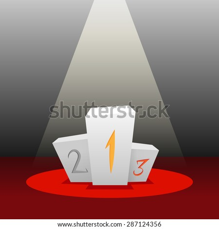 Vector white cartoon empty podium for the winners on a red carpet and dark background in the ray of light - stock vector