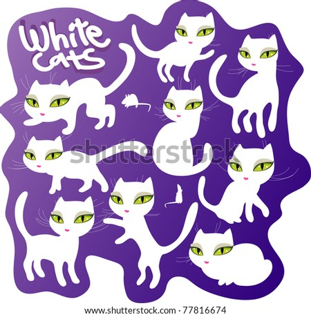 vector white cats - stock vector