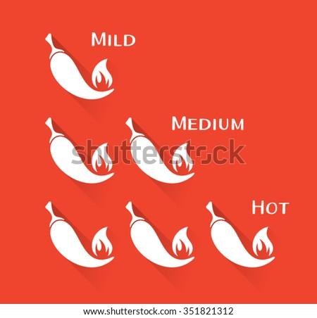 Vector white chilli peppers mild medium hot scale - stock vector