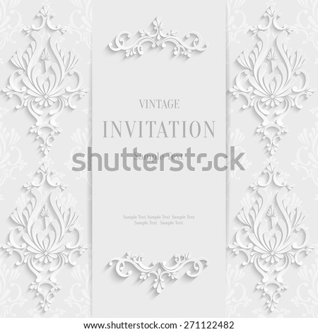 Vector White Christmas Vintage Invitation Card with 3d Floral Pattern - stock vector