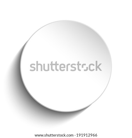 Vector - White Circle Button on White Background - stock vector