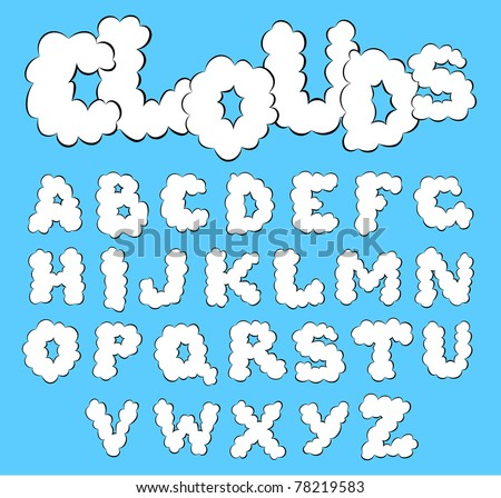 Vector white clouds alphabet on a blue sky background