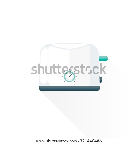 vector white color green blue metal elements flat design electric toaster isolated illustration white background  - stock vector