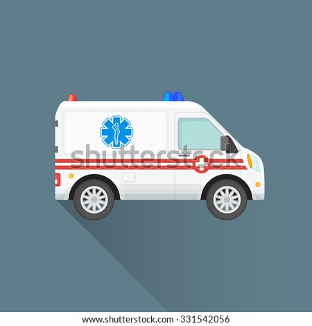 vector white color red stripes flat design ambulance emergency car first-aid cross sign illustration isolated dark background long shadow - stock vector