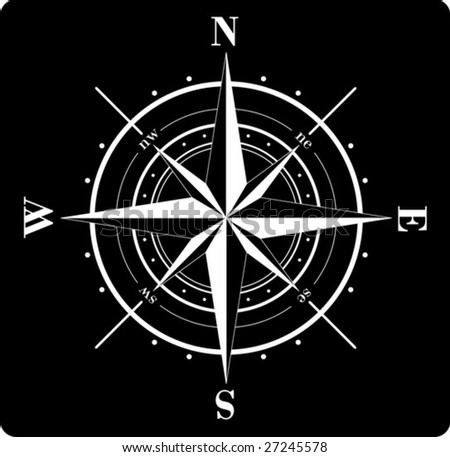 Vector - White compass rose  isolated on black - stock vector